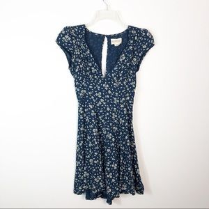 Denim & Supply Navy Blue Floral Dress Keyhole Back